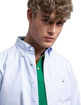Camisa Gant Regular Fit Oxford Azul