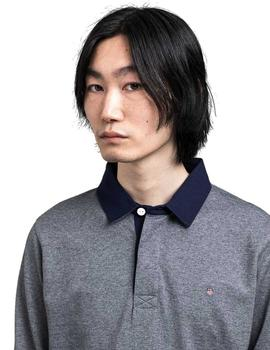 Polo Gant Heavy Rugger Manga Larga Gris